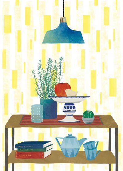 植物や食器が飾ってあるお洒落な飾り棚のインテリアディスプレーーイラストレーターなめきみほ
