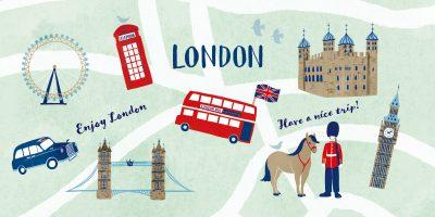 お洒落なロンドンモチーフのカットイラスト。衛兵、ロンドンバス、ビッグベンーイラストレーターなめきみほ