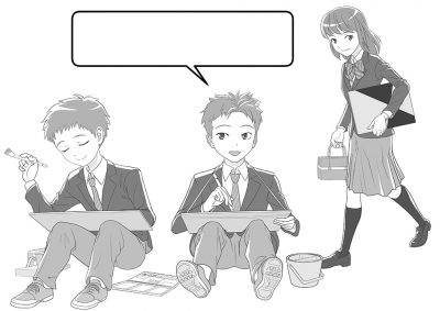 教材_挿絵カット_中学生の生活_写生会