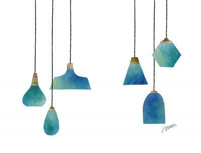お洒落なアンティークのブルーのインテリア照明のイラストーイラストレーターなめきみほ