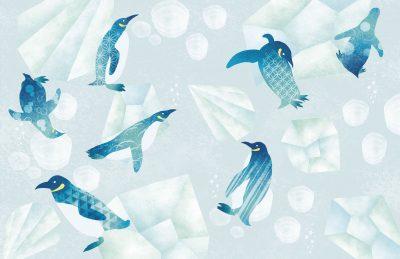 雑誌特集扉絵ー和柄のペンギンと南極の氷のイラストー七緒ーイラストレーターなめきみほ