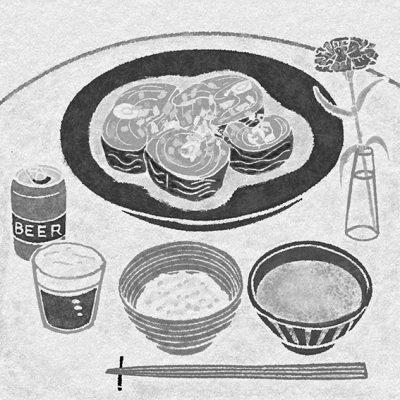 コラム挿絵,モノクロ,小説,1色,料理イラスト,食物イラスト,レシピイラスト