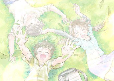 小学生の生活イメージカット、通学中に芝生に寝転がる