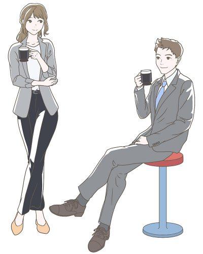 オフィスでコーヒー休憩をするビジネスマン、男女