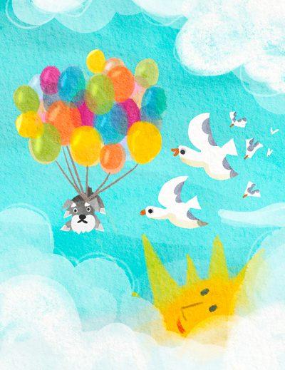 空飛ぶ犬のイラスト(風船と犬)