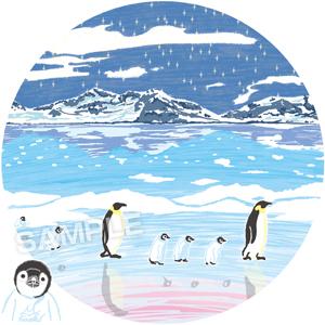 イラスト,風景,景色,ペンギン,Tシャツ,冬